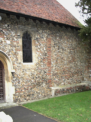 South wall showing quoins of Roman tile.