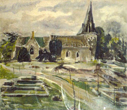 Rutherford's watercolour of the church after bomb damage in 1943.